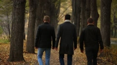 Three young men walking down the alley in autumn park Stock Footage