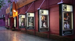 Facade of Moscow Drama Theatre Sphere on Karetny ryad street Stock Footage