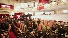 Press representatives in auditorium of Moscow theatre Et Cetera Stock Footage