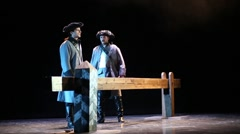 K.Scherbina as Kurbsky and S.Davydov as Pretender on stage of theatre Stock Footage
