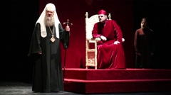 Tzar Boris  on throne and Patriarch on stage of Moscow theatre Et Cetera Stock Footage