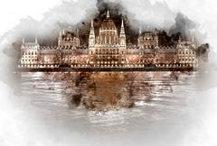 Digital watercolor painting of Hungarian Parliament Building at night Stock Illustration