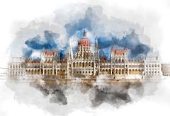 Hungarian Parliament Building Stock Illustration