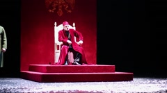 Tzar Boris on throne and Basmanov on stage of Moscow theatre Stock Footage