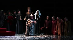 Patriarch begins the rite of the holy tonsure on stage of Moscow theatre Stock Footage