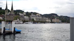 Lakeside view of Lucern city Stock Footage