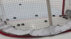 Goal to gate at hockey meet Dinamo Balashikha and Izhstal, close up view. Stock Footage