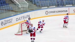 Goalkeeper is warming up at hockey meet Dinamo Balashikha and Izhstal. Stock Footage