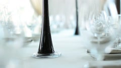 Beautiful Tall Glass Vases with Flowers on the Wedding Decorated Table Stock Footage