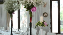 Beautiful  Flowers on Decorated Table in Wedding Day Stock Footage