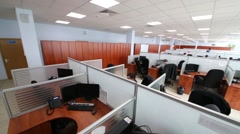 Light office with a partitions workplaces in Moscow city telephone network. Stock Footage