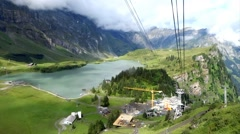 Panaromic view of Mountains from moving Cable Car Switzerland Stock Footage
