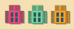 Big set City generator. House constructor. Windows. Make your perfect city. Stock Illustration