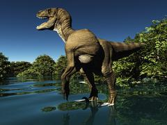 Velociraptor the dinosaur 3d rendering Stock Illustration