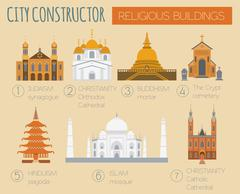Big set City generator. House constructor. Religious buildings. Make your per Stock Illustration