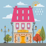 Big set City generator. House constructor. House, cafe, restaurant, shop, bou Stock Illustration