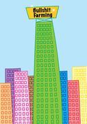 Skyscraper building of business giant bullshit farming Stock Illustration