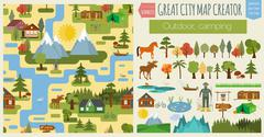 Great city map creator.Seamless pattern map. Camping, outdoor, countryside. M Stock Illustration