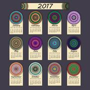 Calendar 2017. Vintage decorative colorful elements. Ornamental floral orient Stock Illustration