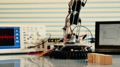 Industrial robot model. Experiment with intelligent manipulator. Stock Footage