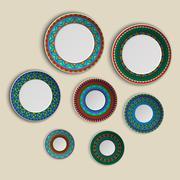 Set of plates with elegant ethnic tribal mandala ornament in boho style. Home Piirros