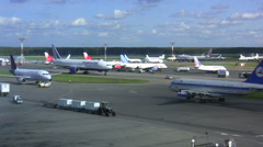 Airplane in airport Domodedovo. Time lapse Stock Footage