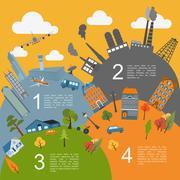 Cityscape conceptual graphic template. Urban, countryside, industrial buildin Stock Illustration