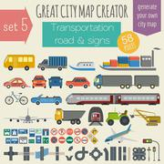 Great city map creator. House constructor. House, cafe, restaurant, shop, inf Stock Illustration