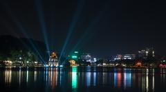 Turtle Tower at Hoan Kiem Lake in night Hanoi, Vietnam Stock Photos