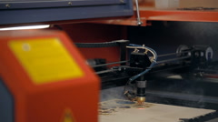 A machine for cutting plywood with a laser Stock Footage