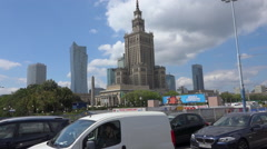 Palace of Culture and Science (PKiN) in Warsaw, Poland - sunny summer day Stock Footage