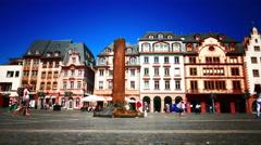 4K Mainz's Market Square Mainz Rheinland-pfalz Rhineland-Palatinate Germany Stock Footage