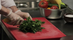 Chef cutting fresh greenery, close up - stock footage