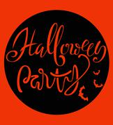 Happy Halloween handwritten lettering composition with bats silhouette Piirros