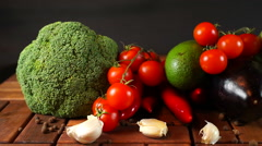 Raw Vegetables on Wooden Table Stock Footage
