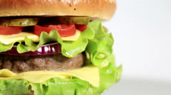 Beef burger meal close up Stock Footage