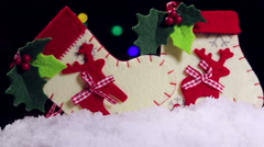 Christmas toys and accessories for decoration of tree Stock Footage