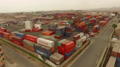 Aerial of a container terminal in Callao (near Lima), Peru Stock Footage