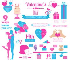 Valentine's day infographic. Flat style love graphic template Stock Illustration