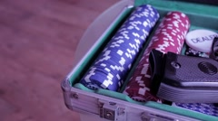 Poker case with gun Stock Footage