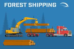 Loading felled trees in the timber crane Stock Illustration