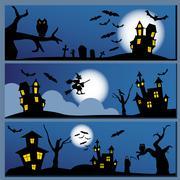 Set of Halloween banner. Holiday design. Stock Illustration