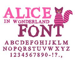 Alice in Wonderland font. Fairy ABC. mad Alphabet  Cheshire Cat. Set of lette - stock illustration