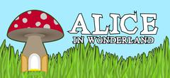 Alice in Wonderland lettering on green grass and mushroom. Mad font Stock Illustration