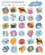 Dog icon set. Heatlh care, vet, nutrition, exhibition Stock Illustration