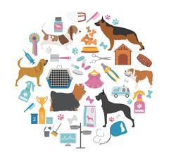 Dog icon set. Heatlh care, vet, nutrition, exhibition Stock Illustration