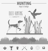 Hunting logo and badge template. Dog hunting, equipment.  Flat design. Vector Stock Illustration