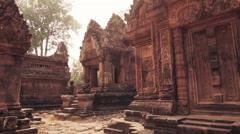 Hindu Temple Ruins Banteay Srei Ancient Angkor Wat Cambodia Stock Footage