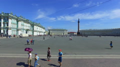 View of the Winter Palace and Palace Square in St. Petersburg Stock Footage