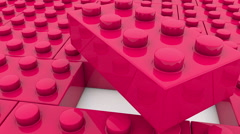 Toy blocks in red color Stock Footage